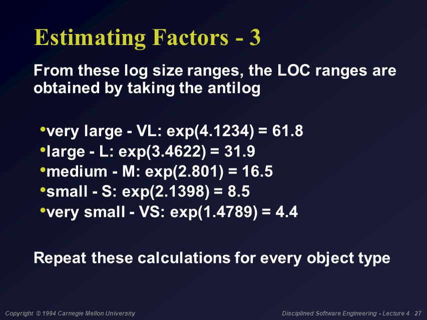 Copyright © 1994 Carnegie Mellon University Disciplined Software Engineering - Lecture 4 27 Estimating Factors - 3 From these log size ranges, the LOC