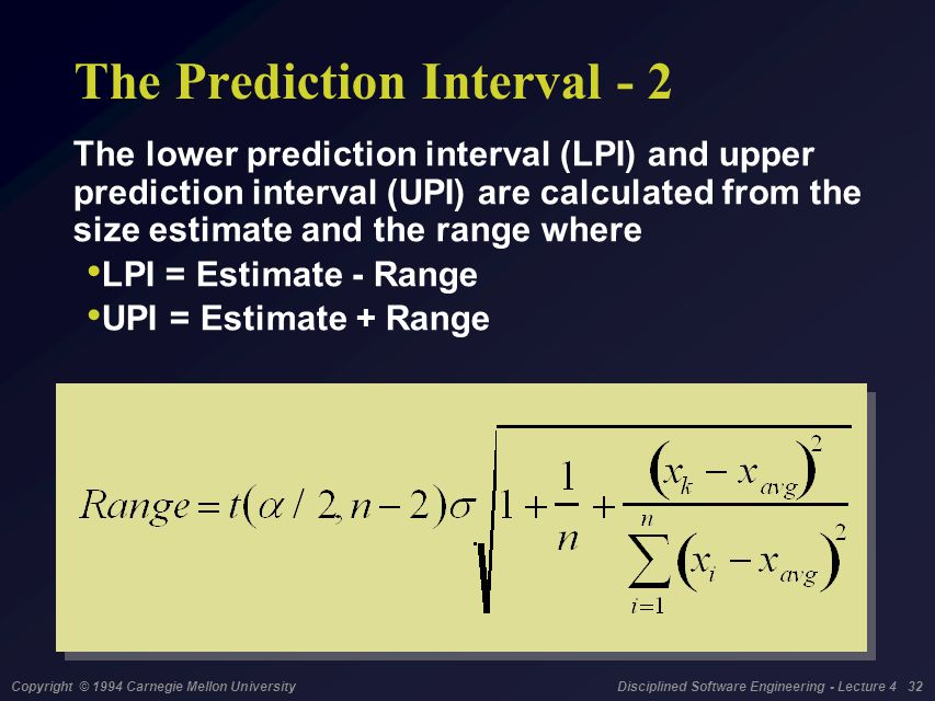 Copyright © 1994 Carnegie Mellon University Disciplined Software Engineering - Lecture 4 32 The Prediction Interval - 2 The lower prediction interval