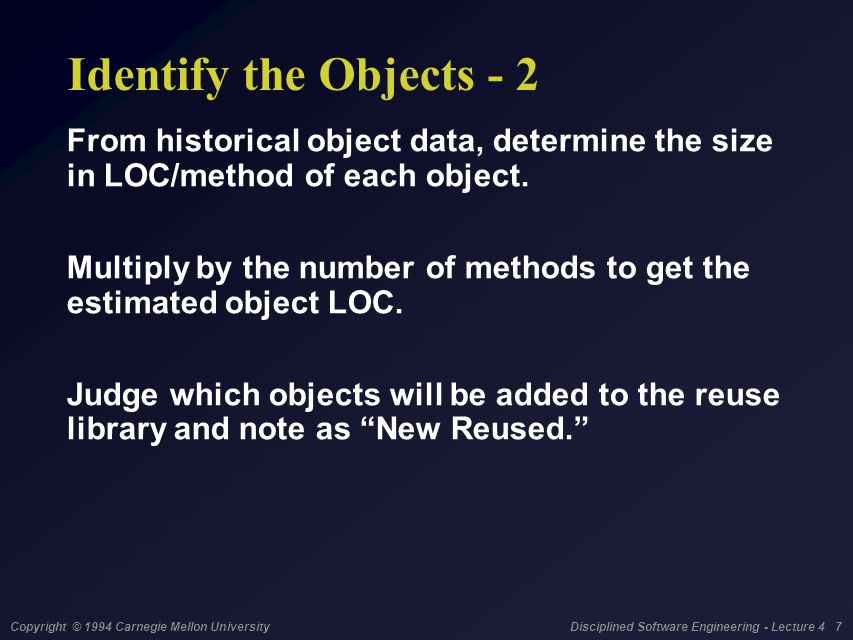 Copyright © 1994 Carnegie Mellon University Disciplined Software Engineering - Lecture 4 7 Identify the Objects - 2 From historical object data, deter