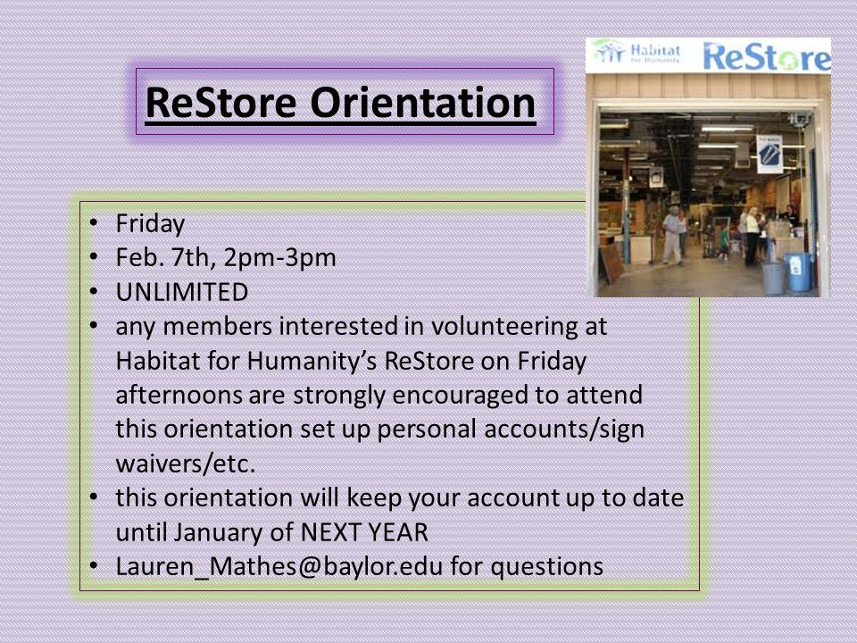 ReStore Orientation Friday Feb.