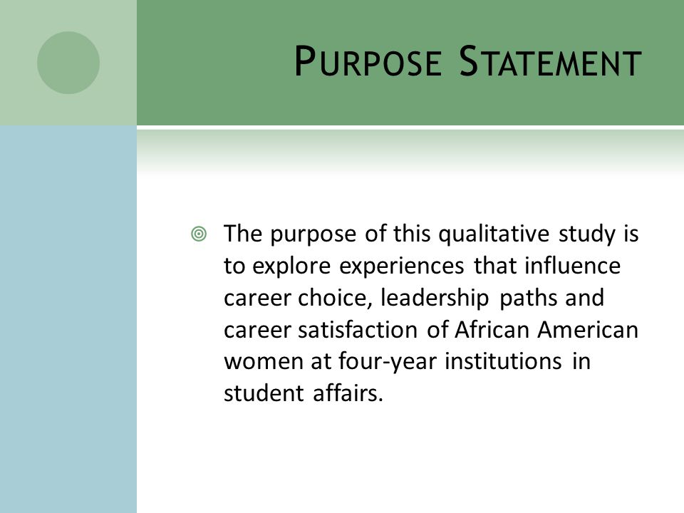 P URPOSE S TATEMENT  The purpose of this qualitative study is to explore experiences that influence career choice, leadership paths and career satisfaction of African American women at four-year institutions in student affairs.