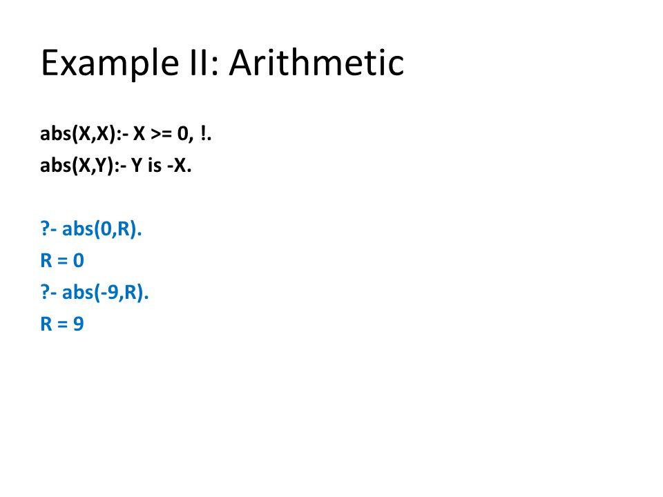 Example II: Arithmetic abs(X,X):- X >= 0, !. abs(X,Y):- Y is -X.