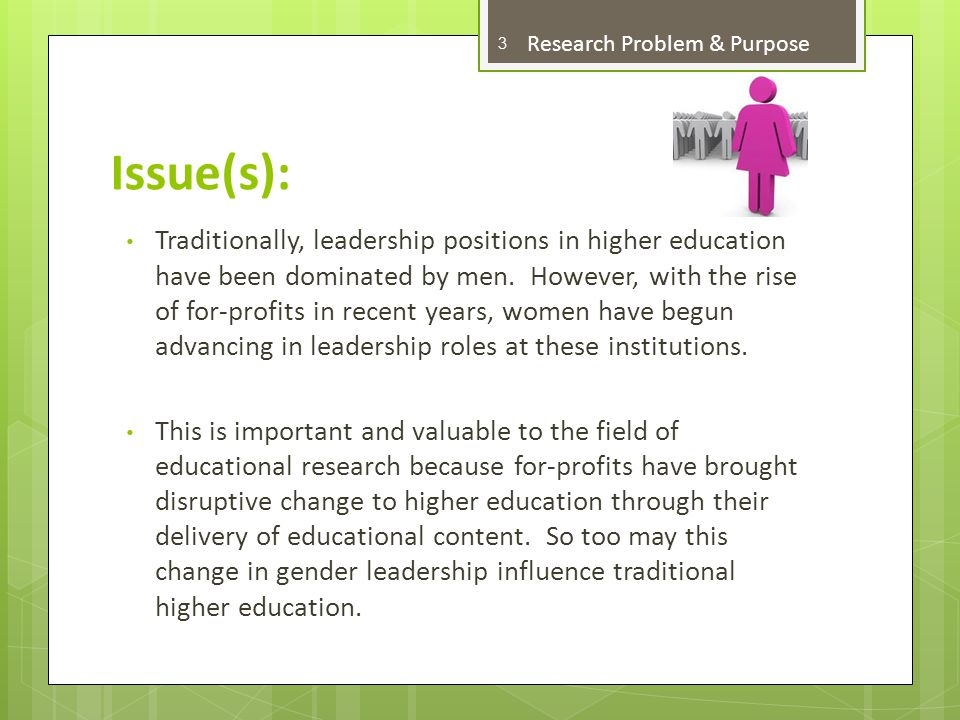 Research Problem A distinct research problem that reflects the issue 4 Research Problem & Purpose