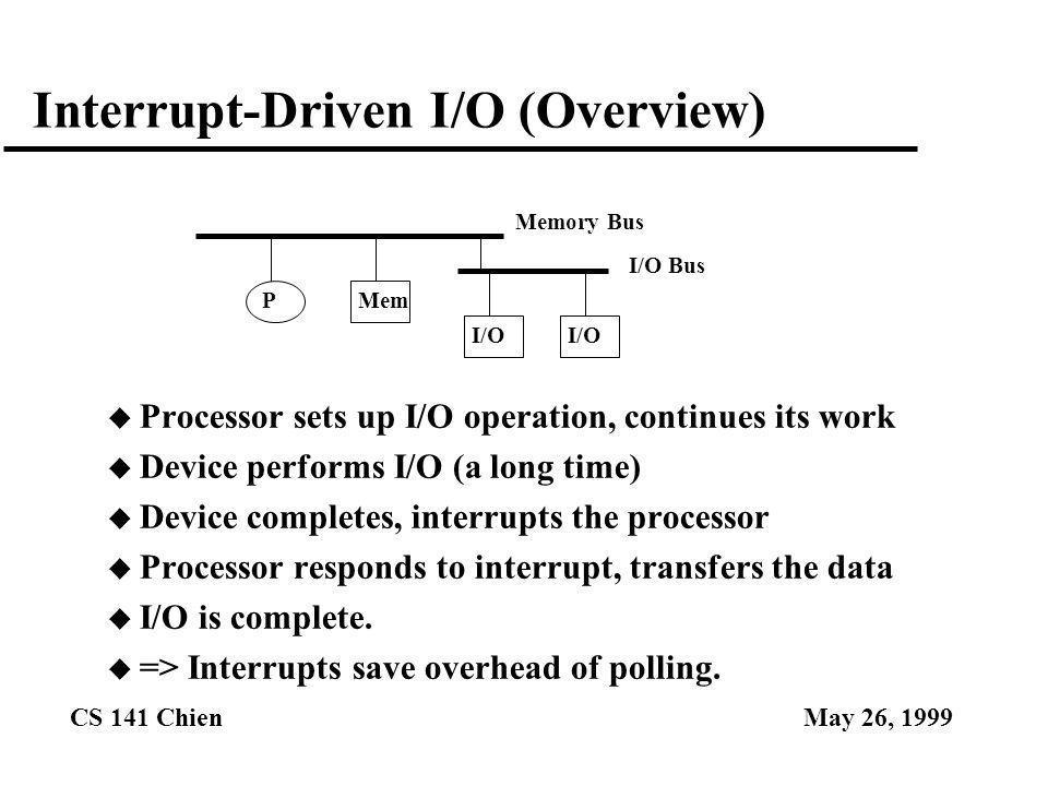 CS 141 ChienMay 26, 1999 Interrupt-Driven I/O (Overview) u Processor sets up I/O operation, continues its work u Device performs I/O (a long time) u D