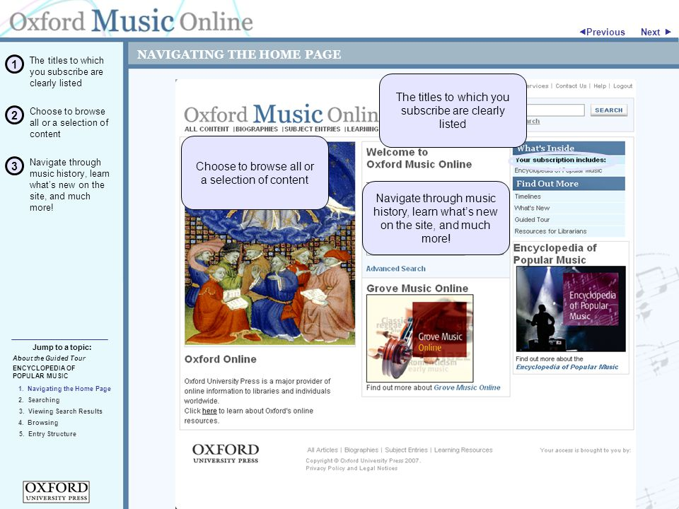"""NAVIGATING THE HOME PAGE Next """" ENCYCLOPEDIA OF POPULAR MUSIC 3."""