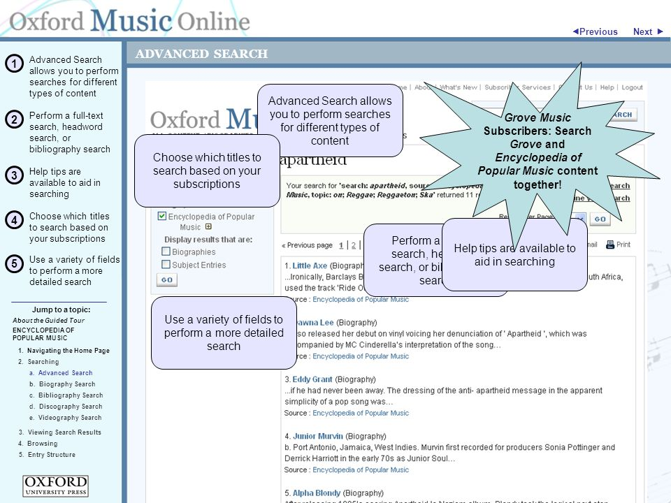 ADVANCED SEARCH ENCYCLOPEDIA OF POPULAR MUSIC 2.Searching Jump to a topic:  Previous 5.