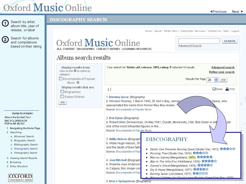 DISCOGRAPHY SEARCH ENCYCLOPEDIA OF POPULAR MUSIC 2. Searching Jump to a topic:  Previous 5. Entry Structure About the Guided Tour 4. Browsing 3. View