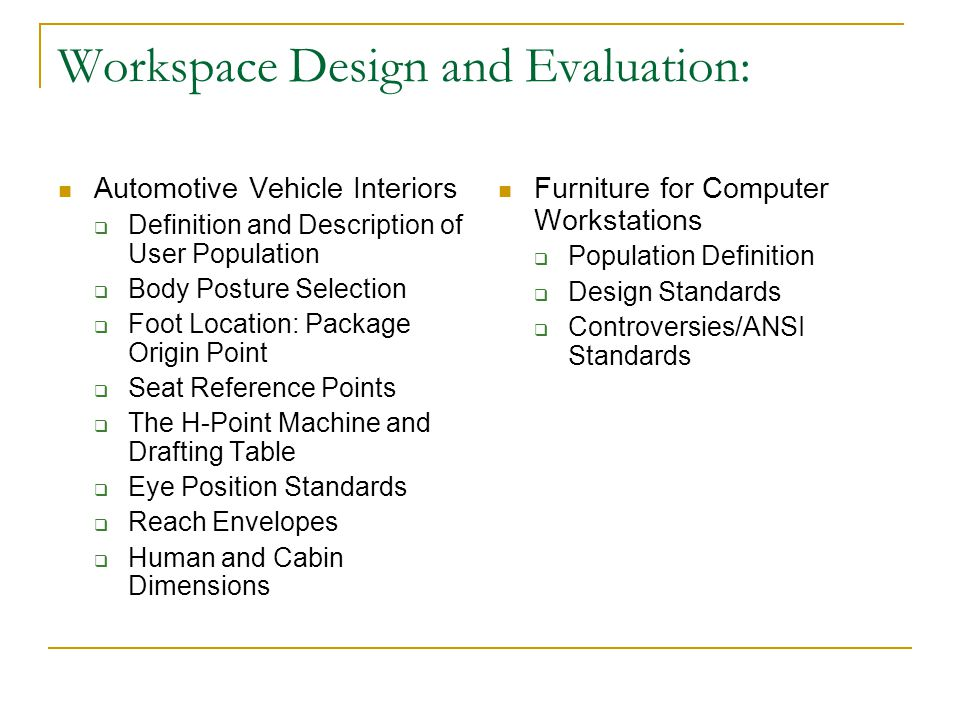 Workspace Design and Evaluation: Automotive Vehicle Interiors  Definition and Description of User Population  Body Posture Selection  Foot Location