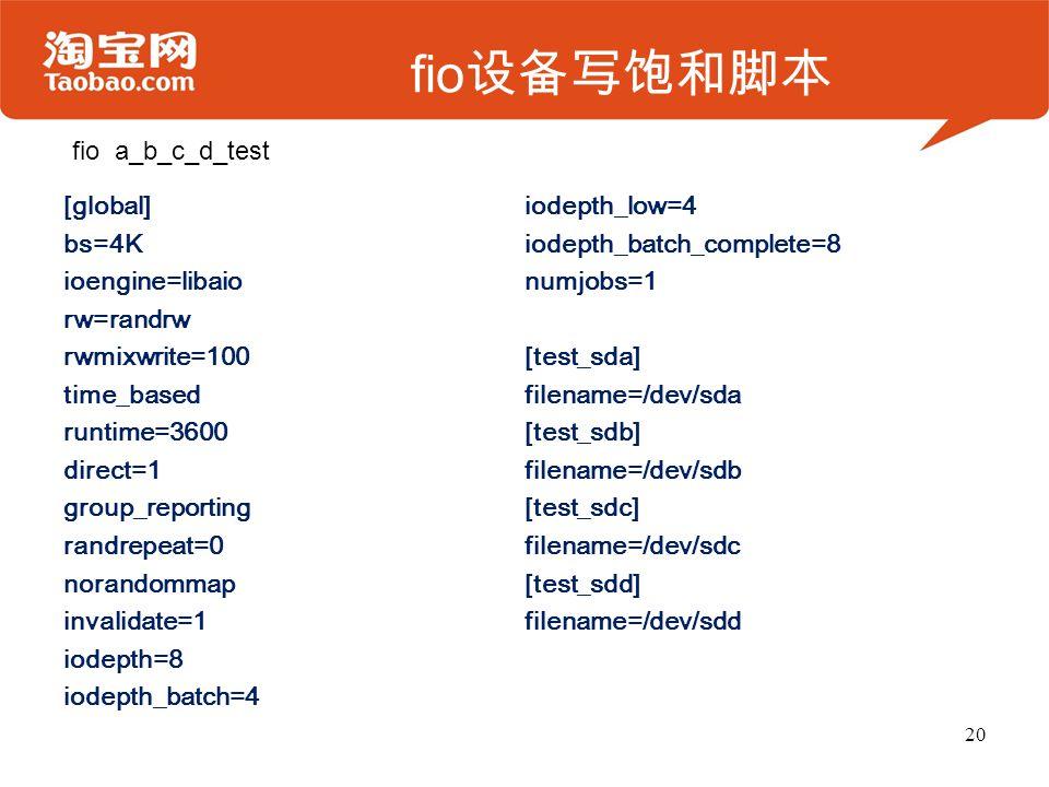 fio 设备写饱和脚本 [global] bs=4K ioengine=libaio rw=randrw rwmixwrite=100 time_based runtime=3600 direct=1 group_reporting randrepeat=0 norandommap invalidate=1 iodepth=8 iodepth_batch=4 iodepth_low=4 iodepth_batch_complete=8 numjobs=1 [test_sda] filename=/dev/sda [test_sdb] filename=/dev/sdb [test_sdc] filename=/dev/sdc [test_sdd] filename=/dev/sdd 20 fio a_b_c_d_test