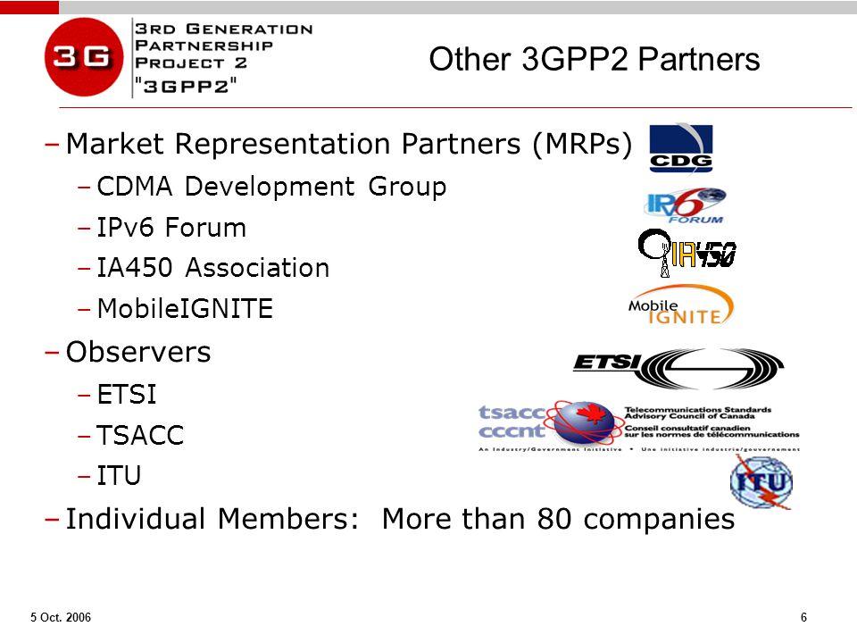5 Oct. 2006 6 Other 3GPP2 Partners –Market Representation Partners (MRPs) –CDMA Development Group –IPv6 Forum –IA450 Association –MobileIGNITE –Observ