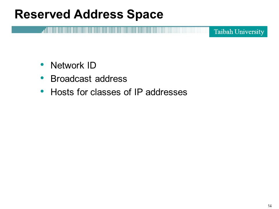 Taibah University 14 Reserved Address Space Network ID Broadcast address Hosts for classes of IP addresses