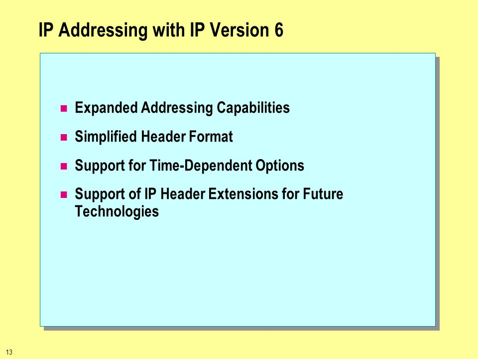 13 IP Addressing with IP Version 6 Expanded Addressing Capabilities Simplified Header Format Support for Time-Dependent Options Support of IP Header E