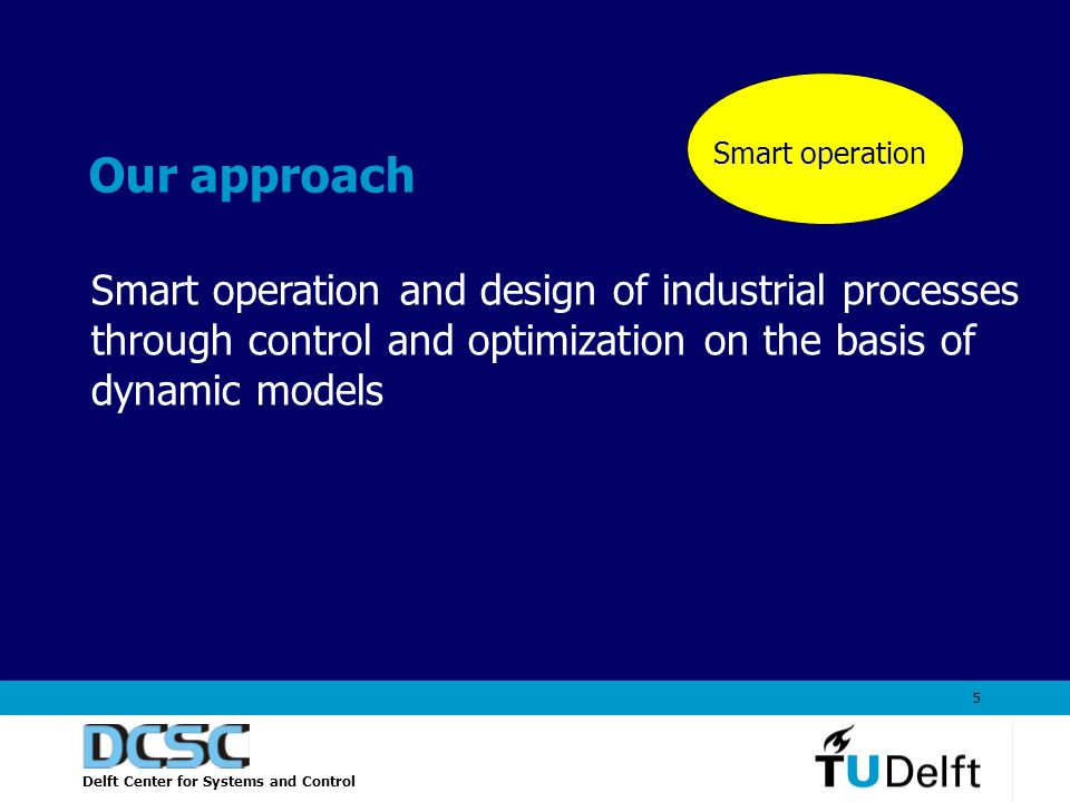 Delft Center for Systems and Control 5 Our approach Smart operation and design of industrial processes through control and optimization on the basis of dynamic models rt operation Smart operation