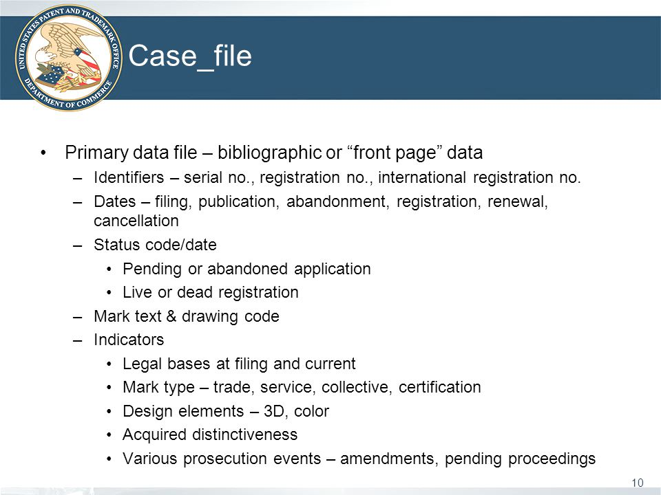 Case_file 10 Primary data file – bibliographic or front page data –Identifiers – serial no., registration no., international registration no.