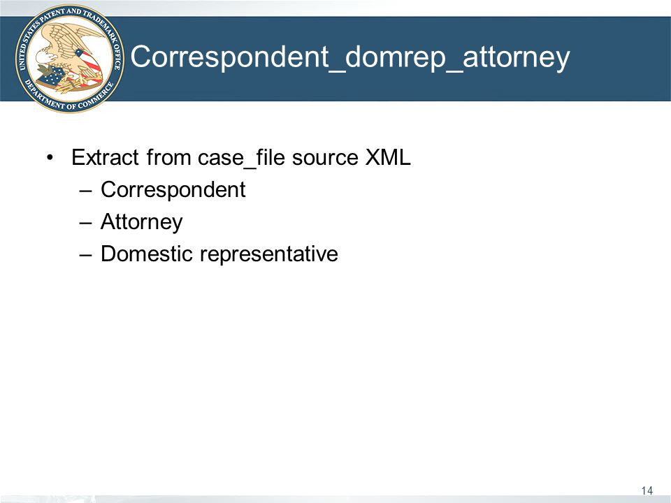 Correspondent_domrep_attorney 14 Extract from case_file source XML –Correspondent –Attorney –Domestic representative