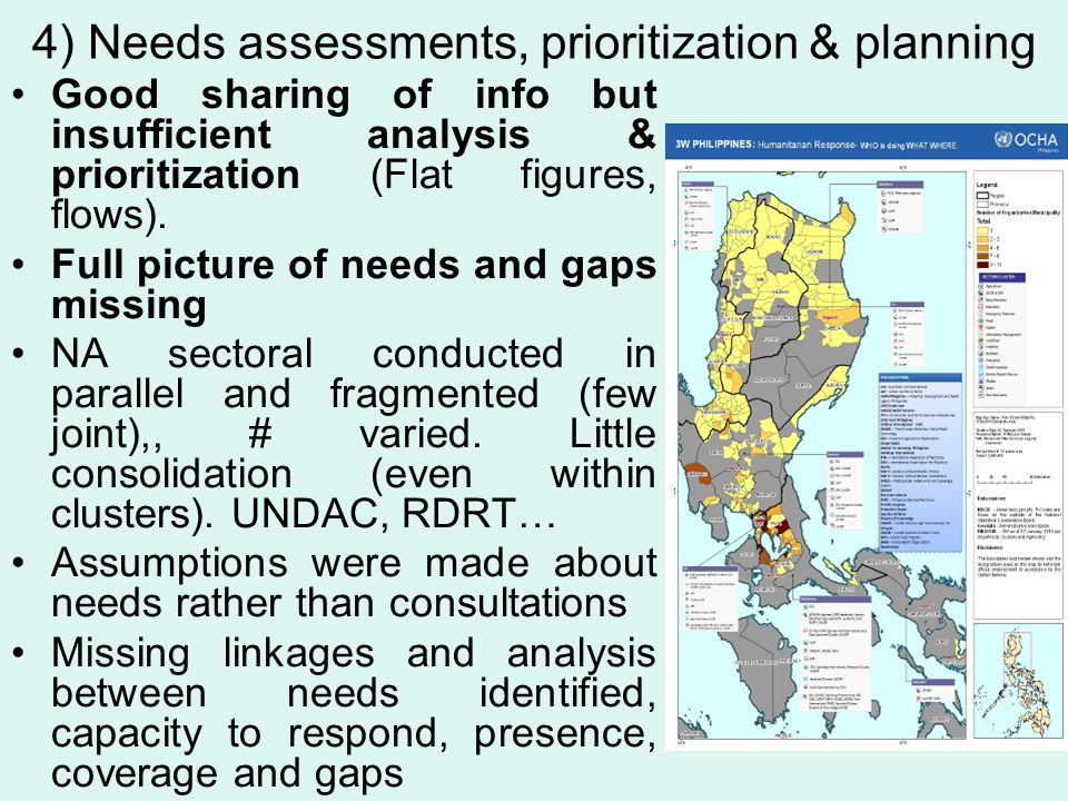 4) Needs assessments, prioritization & planning Good sharing of info but insufficient analysis & prioritization (Flat figures, flows). Full picture of