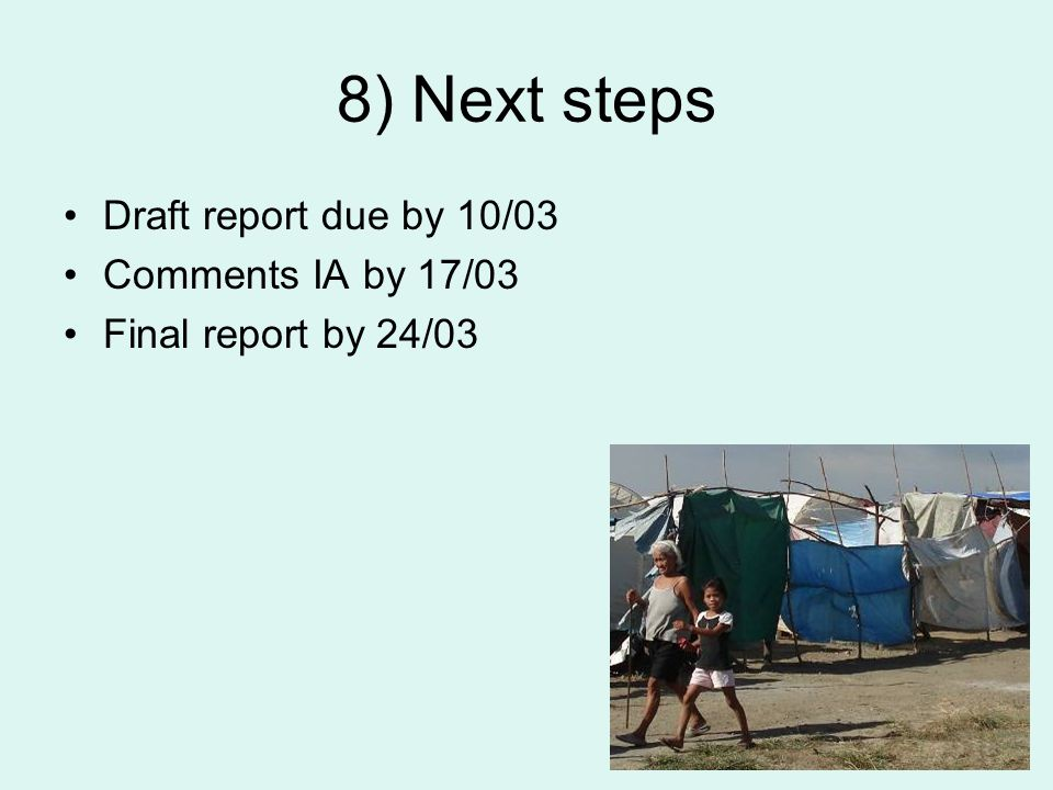 8) Next steps Draft report due by 10/03 Comments IA by 17/03 Final report by 24/03