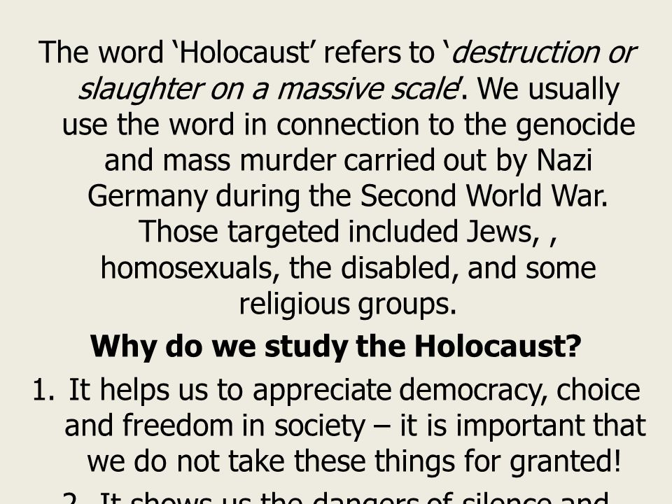 how to start an essay on the holocaust Holocaust essay 1014 words | 5 pages death and humanity in the holocaust within the twentieth century, what event stands out to you as the most inhumane treatment of fellow humans without a doubt, most would agree that the holocaust completely matches this sad frame of reference the holocaust in germany was an unspeakable event in.