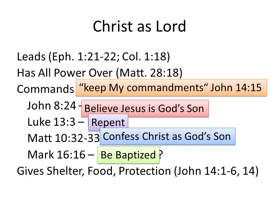 Christ as Lord Leads (Eph. 1:21-22; Col. 1:18) Has All Power Over (Matt.