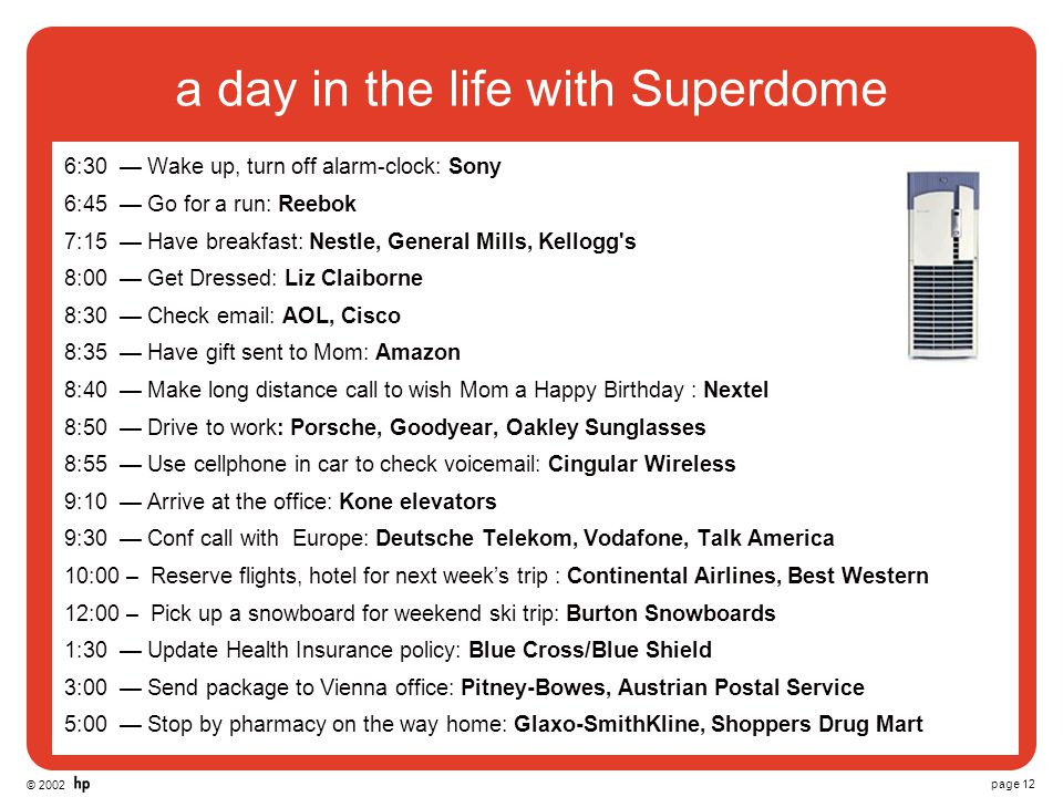 © 2002 page 12 a day in the life with Superdome 6:30 — Wake up, turn off alarm-clock: Sony 6:45 — Go for a run: Reebok 7:15 — Have breakfast: Nestle,