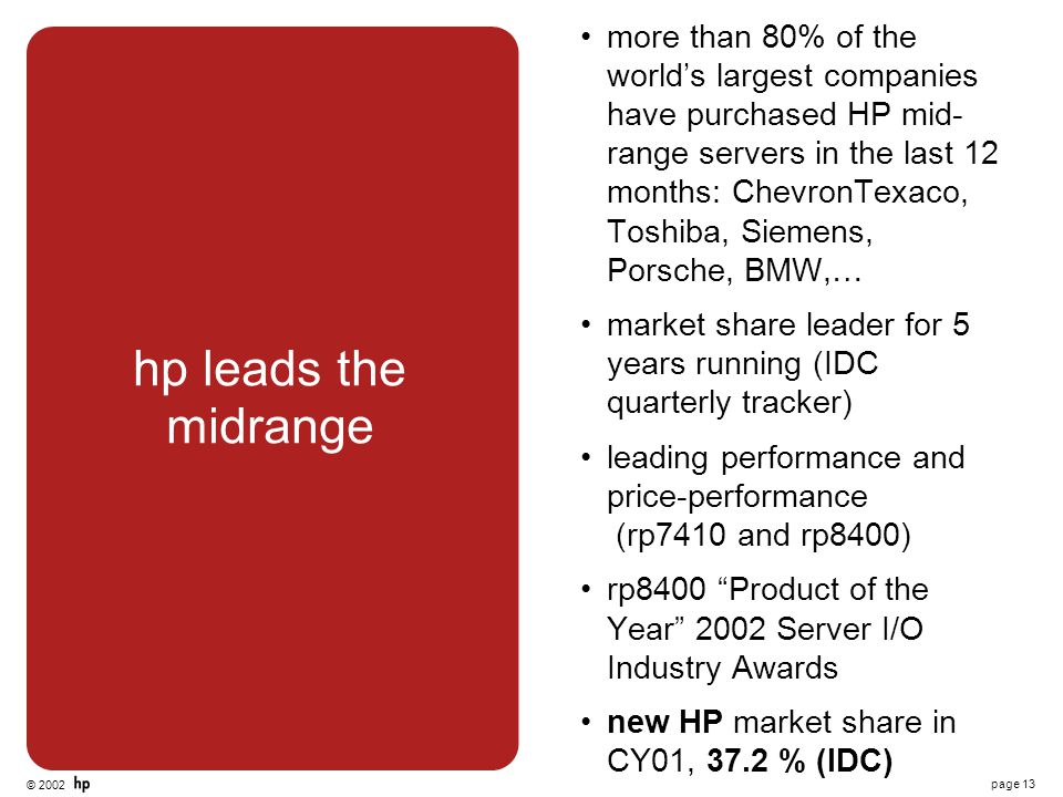 © 2002 page 13 hp leads the midrange more than 80% of the world's largest companies have purchased HP mid- range servers in the last 12 months: Chevro