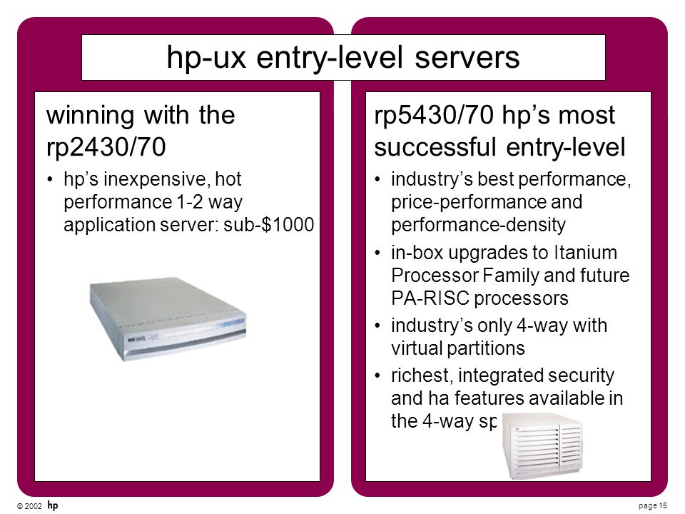 © 2002 page 15 hp-ux entry-level servers rp5430/70 hp's most successful entry-level industry's best performance, price-performance and performance-den