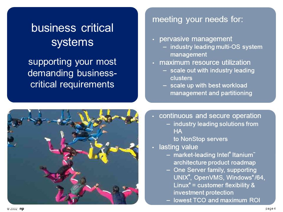 © 2002 page 4 business critical systems supporting your most demanding business- critical requirements meeting your needs for: pervasive management –i