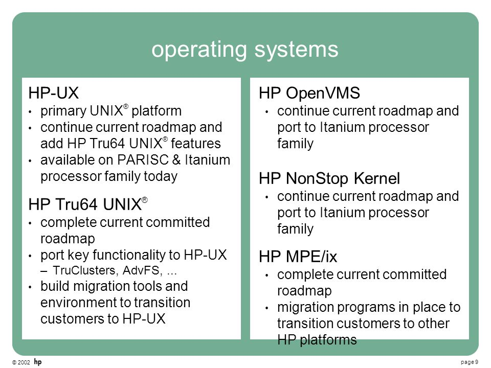 © 2002 page 20 UNIX ® operating system roadmap customer value—investment protection and a better HP-UX 02030405 Wildcat Scalability System Mgmt 11i RAS Internet Web Directory/Security Scalability Manageability HP-UX HP Tru64 UNIX HP-UX with Tru64 UNIX features 11.30 Self tuning, self adapting vertically and horizontally Vail Common System Mgmt Utah * * Sales thru at least 2006, support thru at least 2011 11.20 11.22 McKinley 11.23 Begin the migration 11.23T Scalability/Mgmt TruCluster AdvFS (16 TB) Migration tools Phase II Common System Mgmt Migration tools Phase I Common System Mgmt