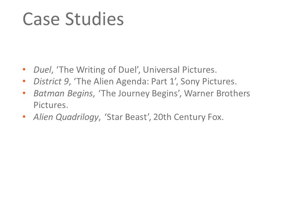 Case Studies Duel, 'The Writing of Duel', Universal Pictures. District 9, 'The Alien Agenda: Part 1', Sony Pictures. Batman Begins, 'The Journey Begin