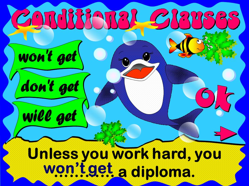 Unless you work hard, you ………… a diploma. won't get