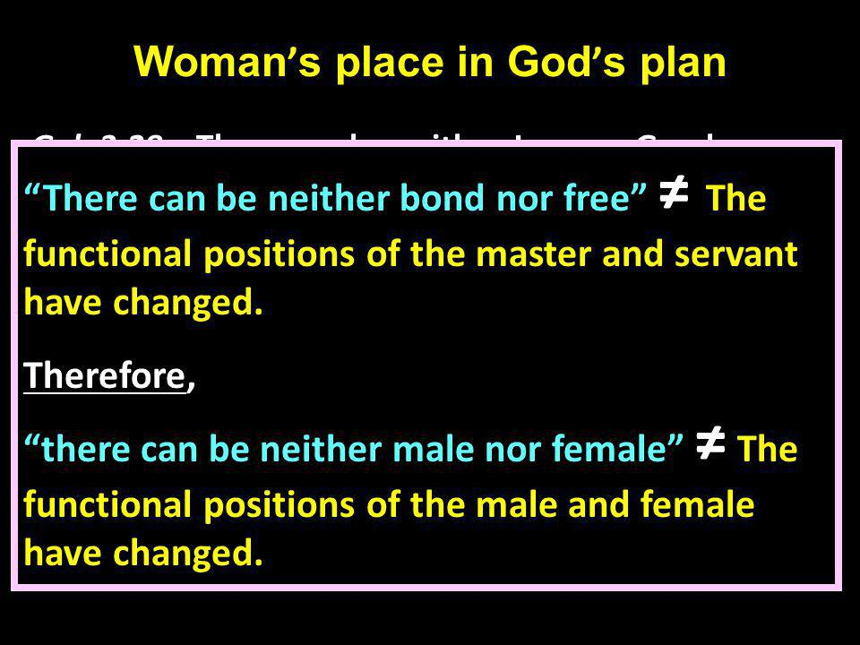 Woman ' s place in God ' s plan Gal.