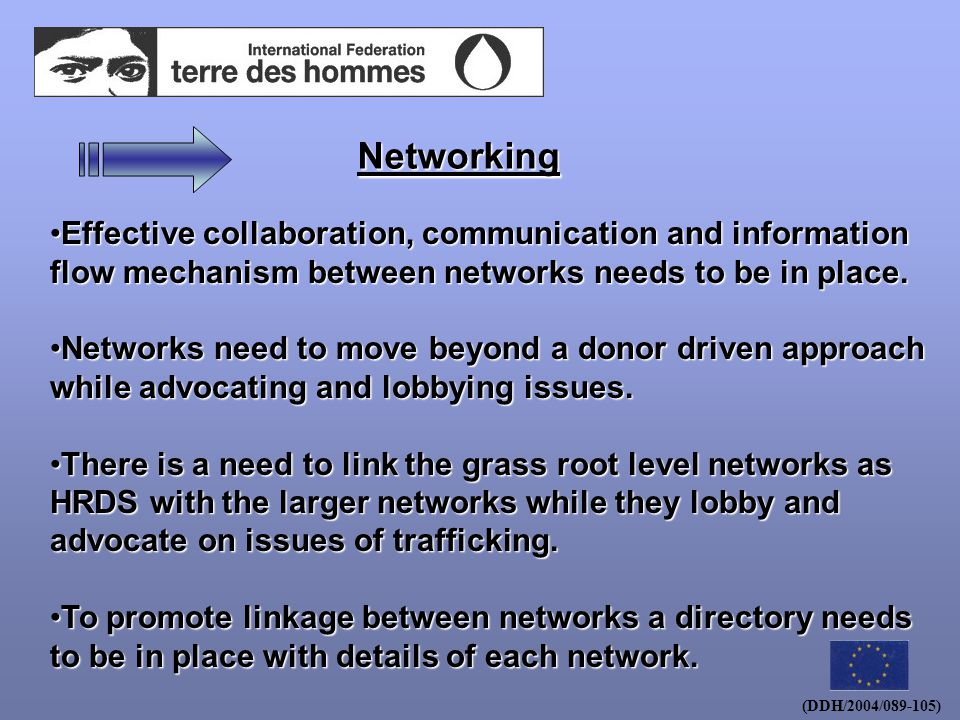 (DDH/2004/089-105) Networking Effective collaboration, communication and information flow mechanism between networks needs to be in place.Effective collaboration, communication and information flow mechanism between networks needs to be in place.