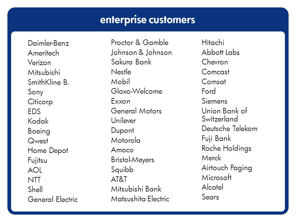 enterprise customers Daimler-Benz Ameritech Verizon Mitsubishi SmithKline B.