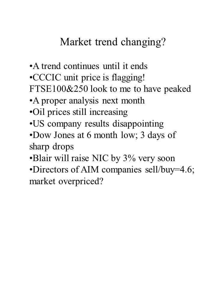 Market trend changing. A trend continues until it ends CCCIC unit price is flagging.