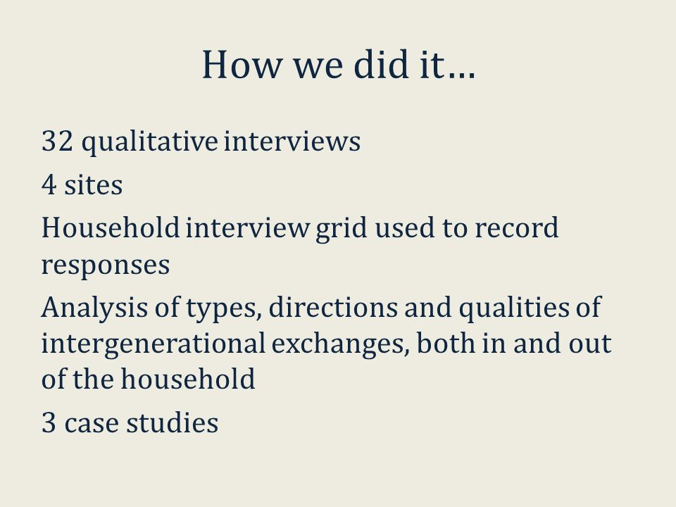 How we did it… 32 qualitative interviews 4 sites Household interview grid used to record responses Analysis of types, directions and qualities of intergenerational exchanges, both in and out of the household 3 case studies