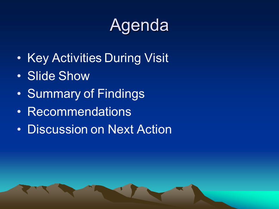 Agenda Key Activities During Visit Slide Show Summary of Findings Recommendations Discussion on Next Action