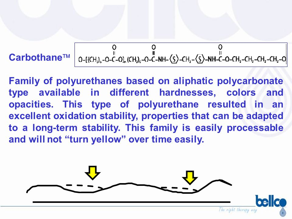 HMDI Hydrogenated Methylene Diisocyanates Tecoflex (based on polyethere) Carbothane (based on polycarbonate) Tecothane (based on polyethere) MDI MetilDianilina methylene diisocyanates AromaticAliphatic © pmghezzi 2004 Classification of polyurethane
