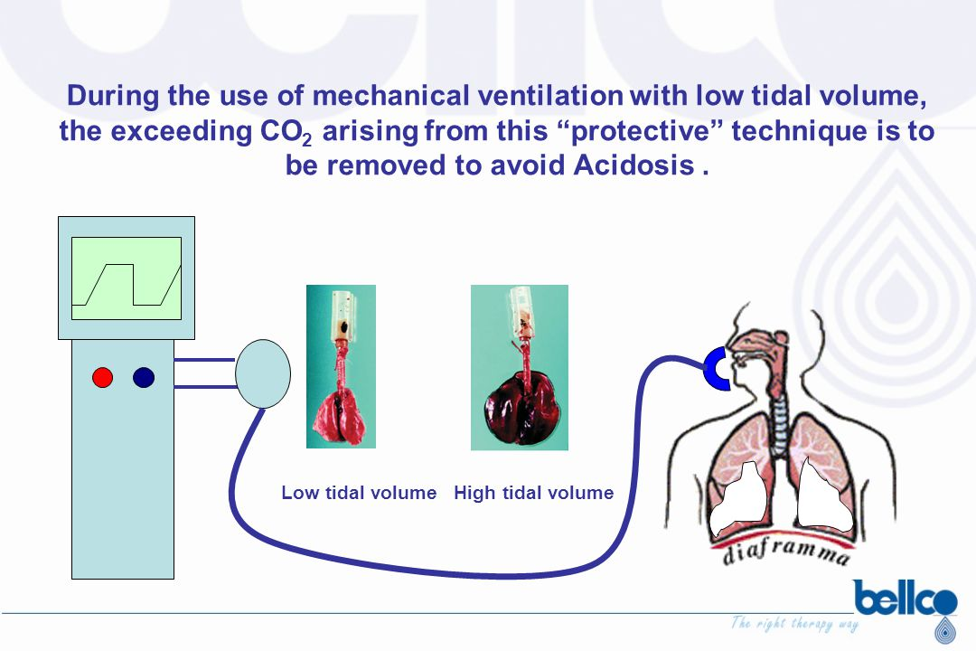 """During the use of mechanical ventilation with low tidal volume, the exceeding CO 2 arising from this """"protective"""" technique is to be removed to avoid"""