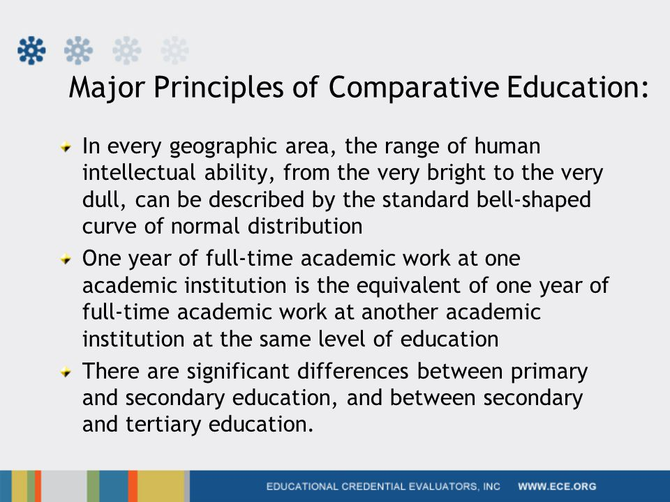Major Principles of Comparative Education: In every geographic area, the range of human intellectual ability, from the very bright to the very dull, can be described by the standard bell-shaped curve of normal distribution One year of full-time academic work at one academic institution is the equivalent of one year of full-time academic work at another academic institution at the same level of education There are significant differences between primary and secondary education, and between secondary and tertiary education.