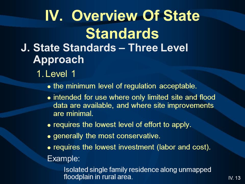 IV. 13 IV. Overview Of State Standards J.State Standards – Three Level Approach 1.Level 1 the minimum level of regulation acceptable. intended for use