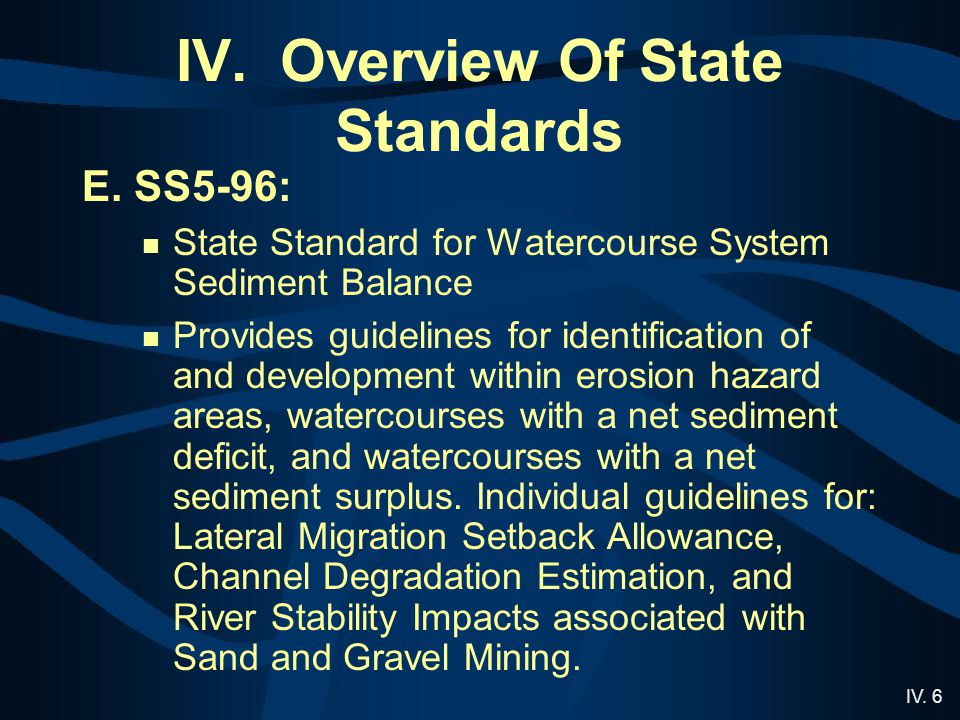 IV.6 IV. Overview Of State Standards E.
