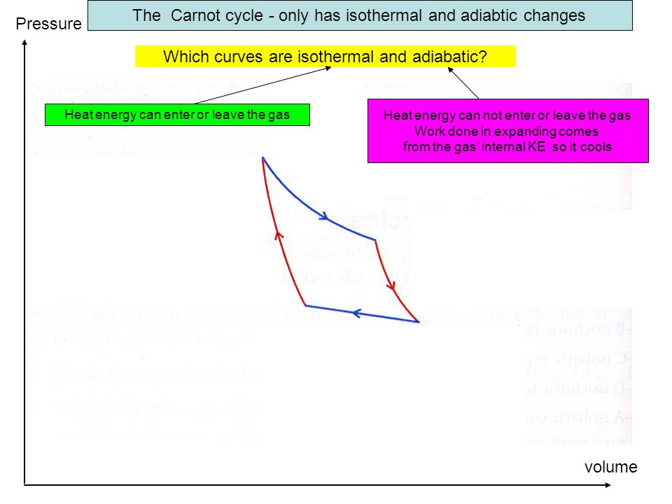 The Carnot cycle - only has isothermal and adiabtic changes Which curves are isothermal and adiabatic.