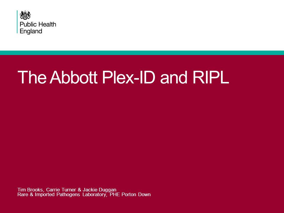 Overview Our lab and why we want the Plex-ID The instrument & how it works Performance in trials Topics for the Tropics Future steps Summary Systemic anthrax