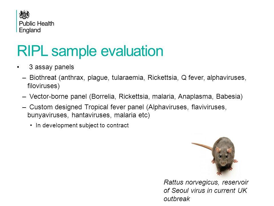 RIPL sample evaluation 3 assay panels – Biothreat (anthrax, plague, tularaemia, Rickettsia, Q fever, alphaviruses, filoviruses) – Vector-borne panel (