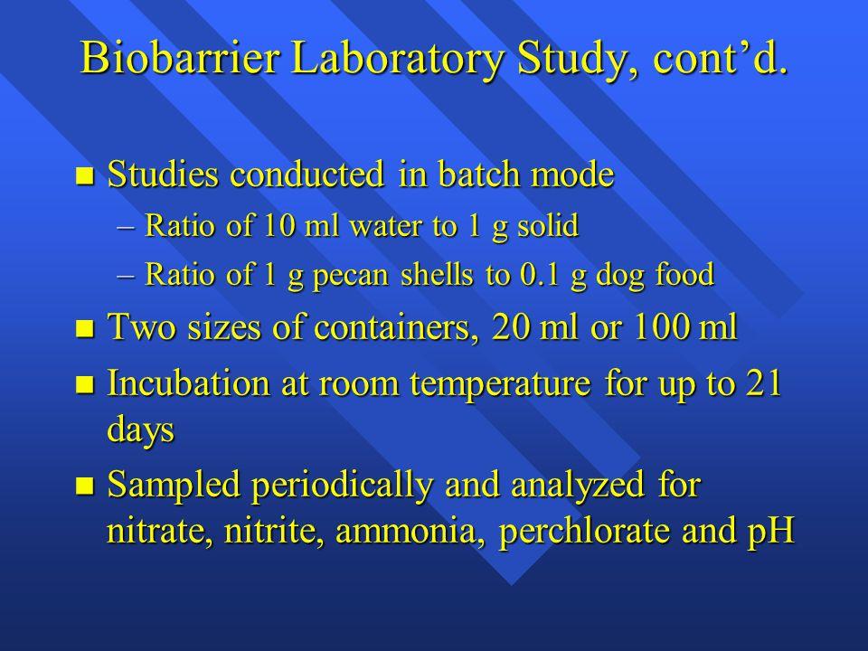 Biobarrier Laboratory Study, cont'd.