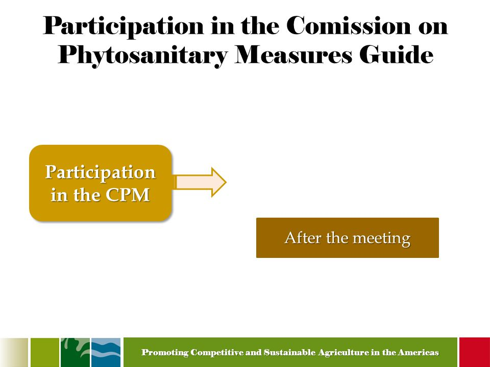 Promoting Competitive and Sustainable Agriculture in the Americas Participation in the Comission on Phytosanitary Measures Guide Participation in the CPM After the meeting