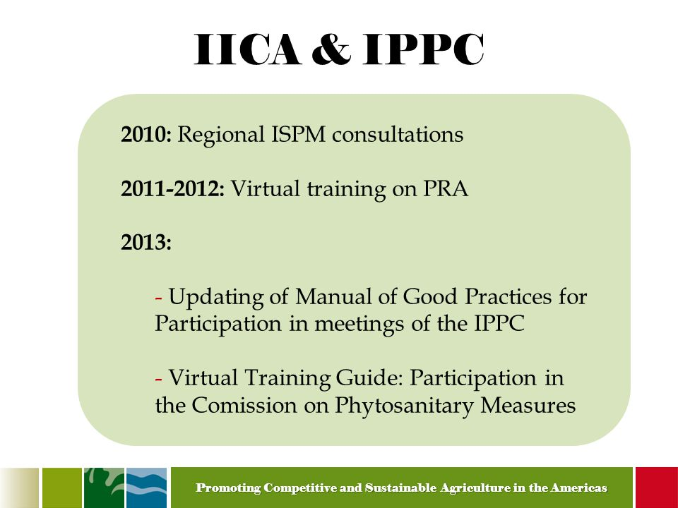 Promoting Competitive and Sustainable Agriculture in the Americas IICA & IPPC 2010: Regional ISPM consultations 2011-2012: Virtual training on PRA 2013: - Updating of Manual of Good Practices for Participation in meetings of the IPPC - Virtual Training Guide: Participation in the Comission on Phytosanitary Measures