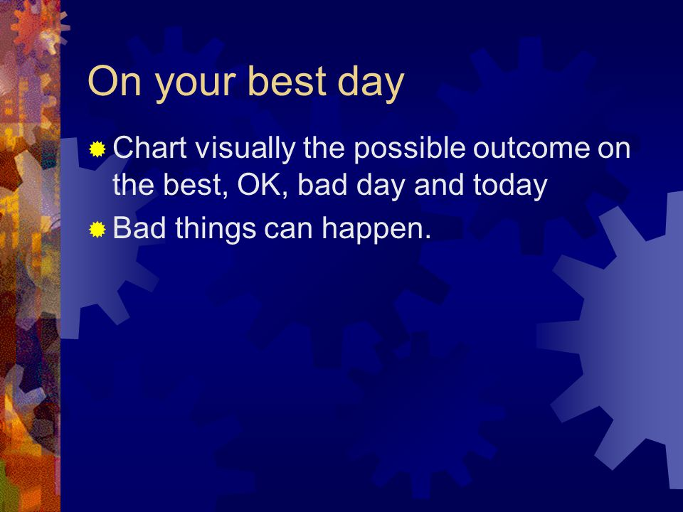 On your best day  Chart visually the possible outcome on the best, OK, bad day and today  Bad things can happen.
