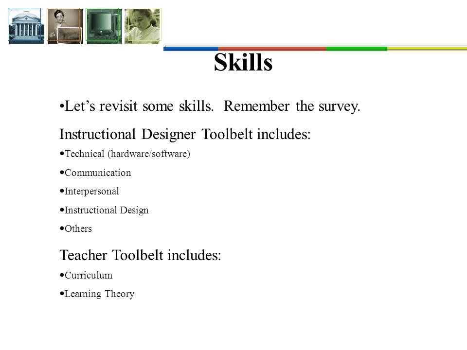 Skills Let's revisit some skills. Remember the survey.