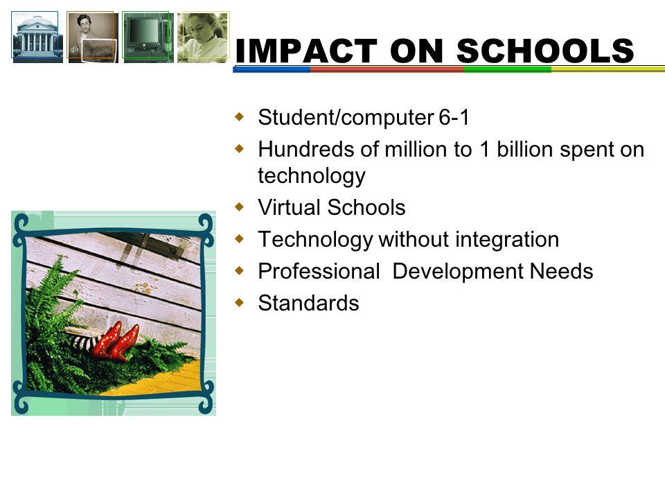  Student/computer 6-1  Hundreds of million to 1 billion spent on technology  Virtual Schools  Technology without integration  Professional Development Needs  Standards IMPACT ON SCHOOLS